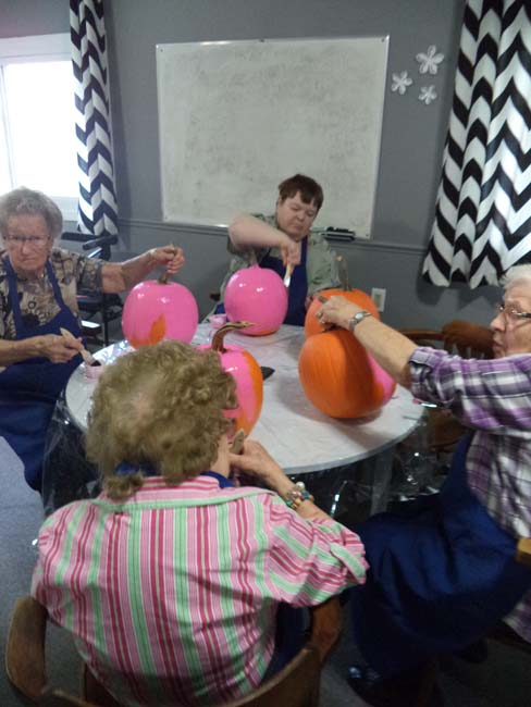 Pumpkins that we painted for the Canadian Cancer Society